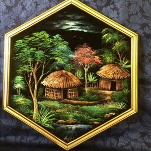 Vintage 60's Paint on Velvet Picture Straw Huts